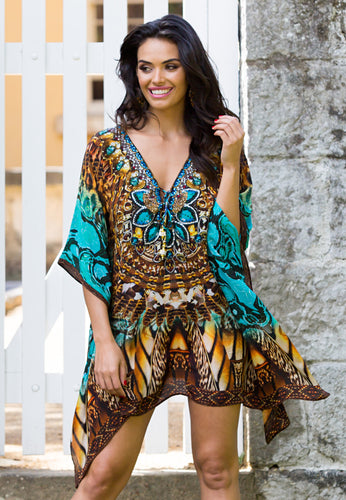 Turquoise Honey - Short Silk Kaftan Dress-SOPHIA + CO-SOPHIA + CO