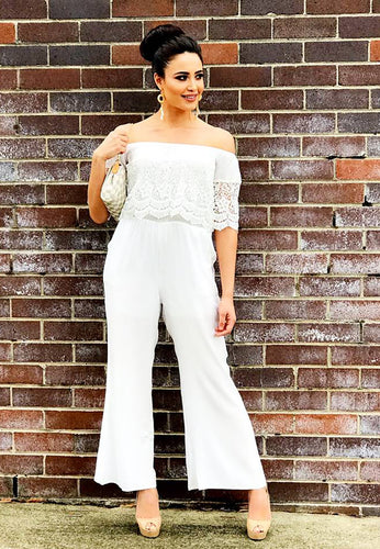 Off Shoulder Jumpsuit - White Lace-SOPHIA + CO-SOPHIA + CO