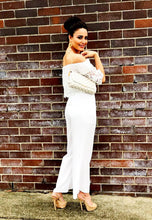 Load image into Gallery viewer, Off Shoulder Jumpsuit - White Lace-SOPHIA + CO-SOPHIA + CO