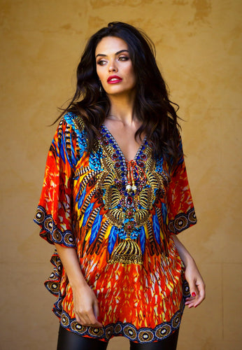 Indian Summer - Butterfly Silk Kaftan Top-SOPHIA + CO-SOPHIA + CO