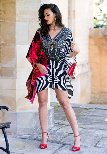 Zebra Rose - Short Silk Kaftan Dress-SOPHIA + CO-SOPHIA + CO
