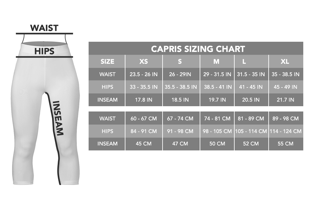 capri leggings size chart i love veterinary