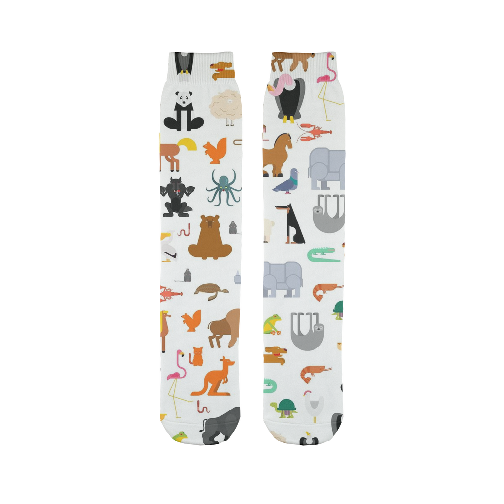 Zoo Pattern Sublimation Tube Sock-Socks-I love Veterinary