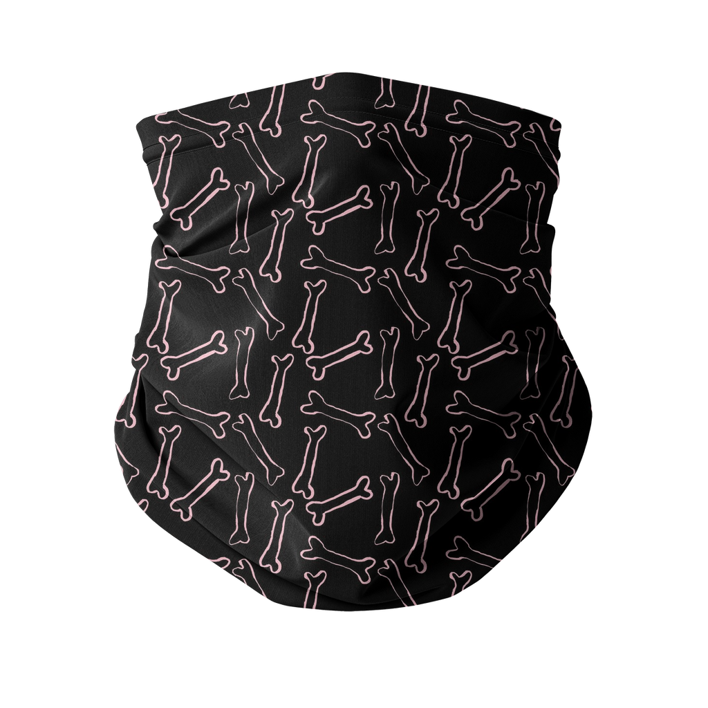 Pink bones black pattern Sublimation Neck Gaiter-Accessories-I love Veterinary