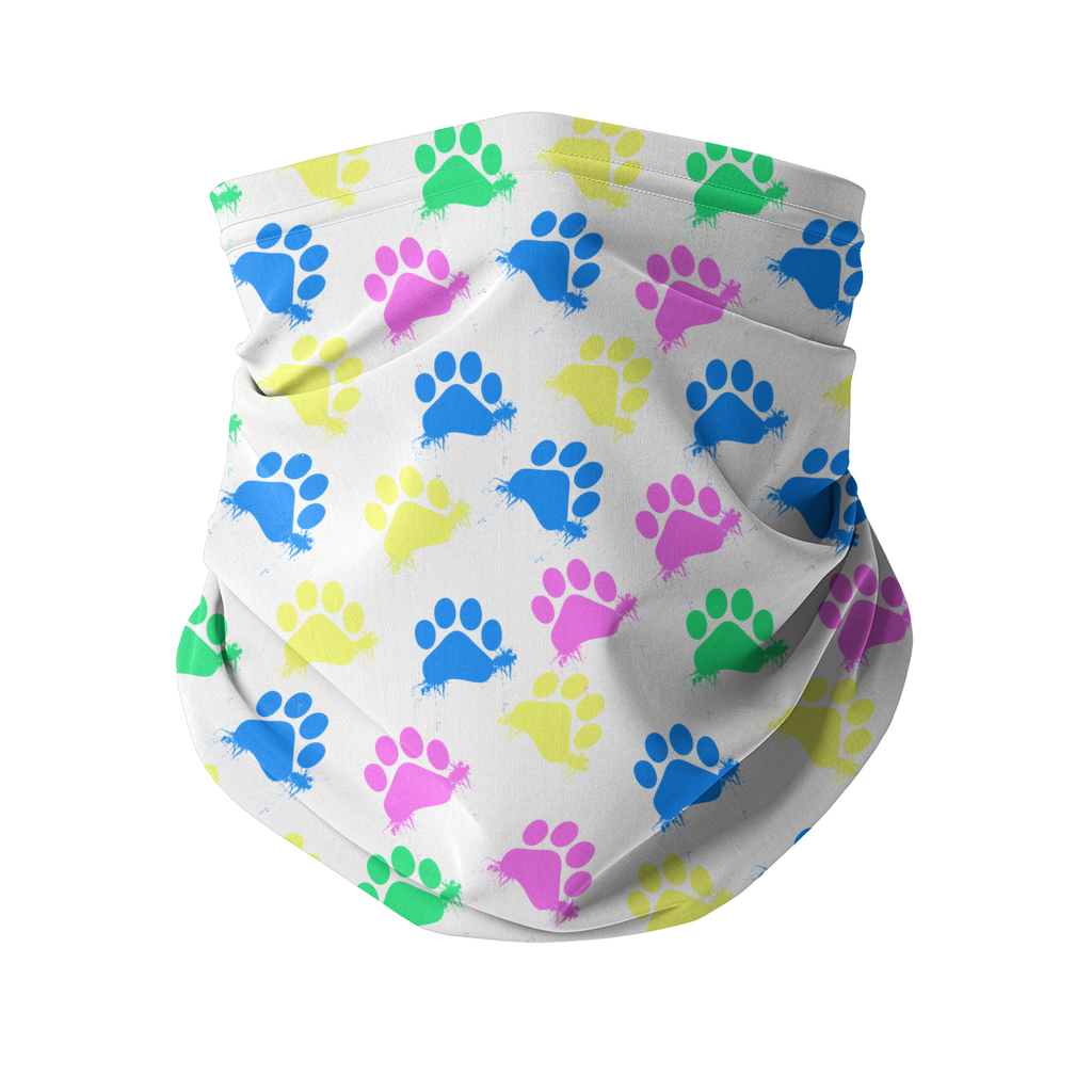 Colorful Paws white Sublimation Neck Gaiter-Accessories-I love Veterinary