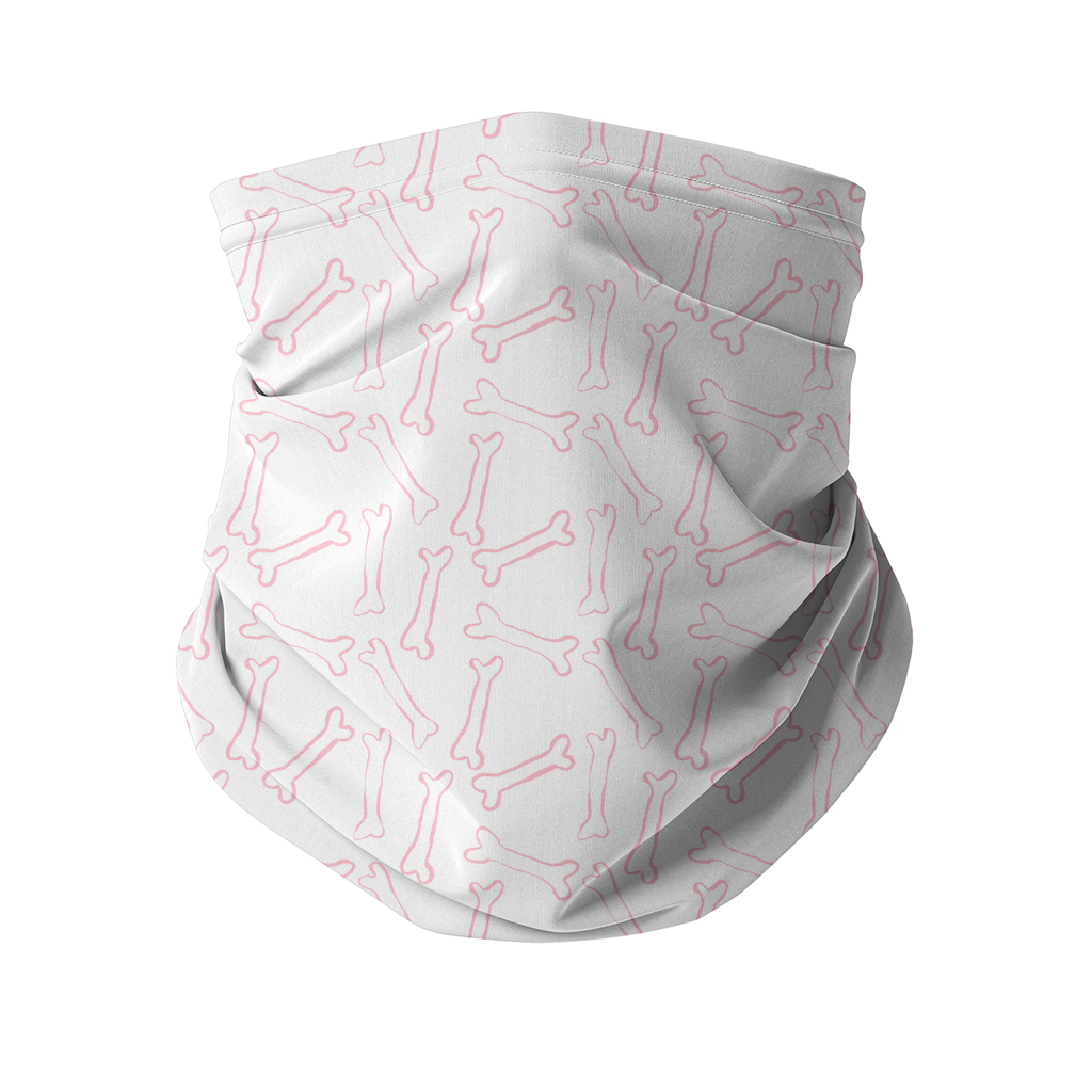 Pink bones white pattern Sublimation Neck Gaiter-Accessories-I love Veterinary