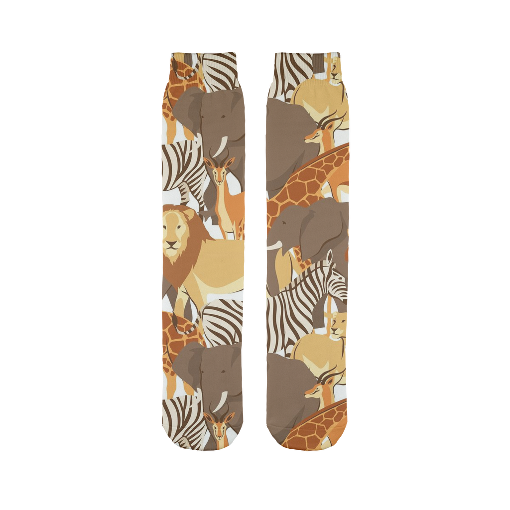 Lion, zebra, giraffe pattern Sublimation Tube Sock-Socks-I love Veterinary
