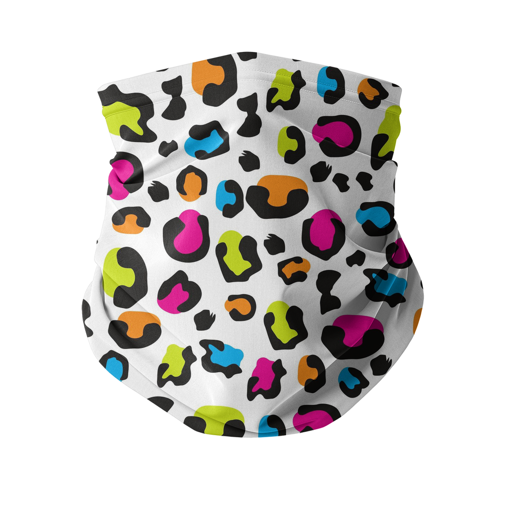 Colorful leopard white pattern Sublimation Neck Gaiter-Accessories-I love Veterinary