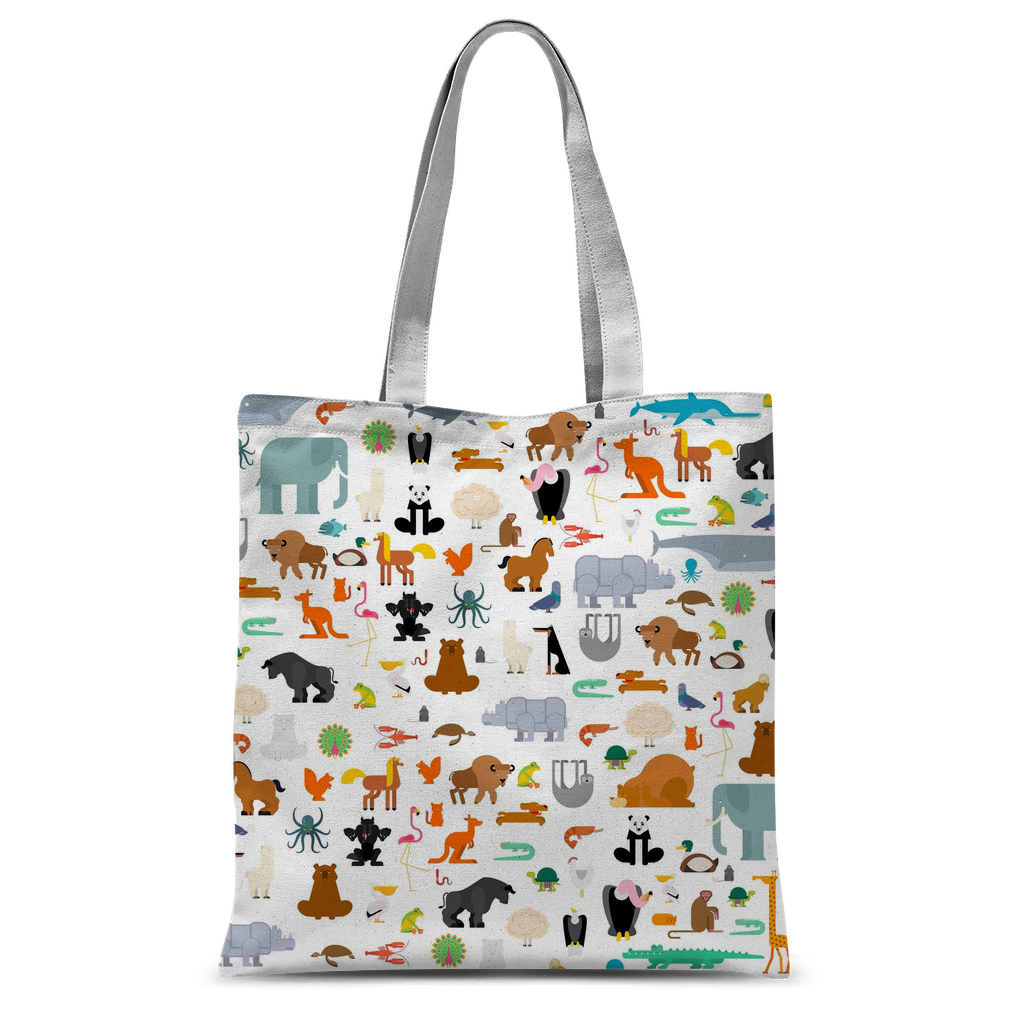 Zoo Pattern Classic Sublimation Tote Bag-Accessories-I love Veterinary