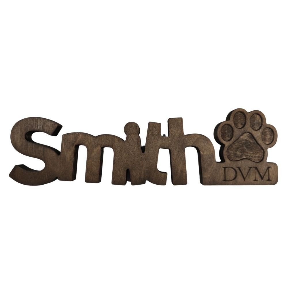Wooden Desk Name Plate - Carved Letters-Wooden Desk Plate Name-I love Veterinary