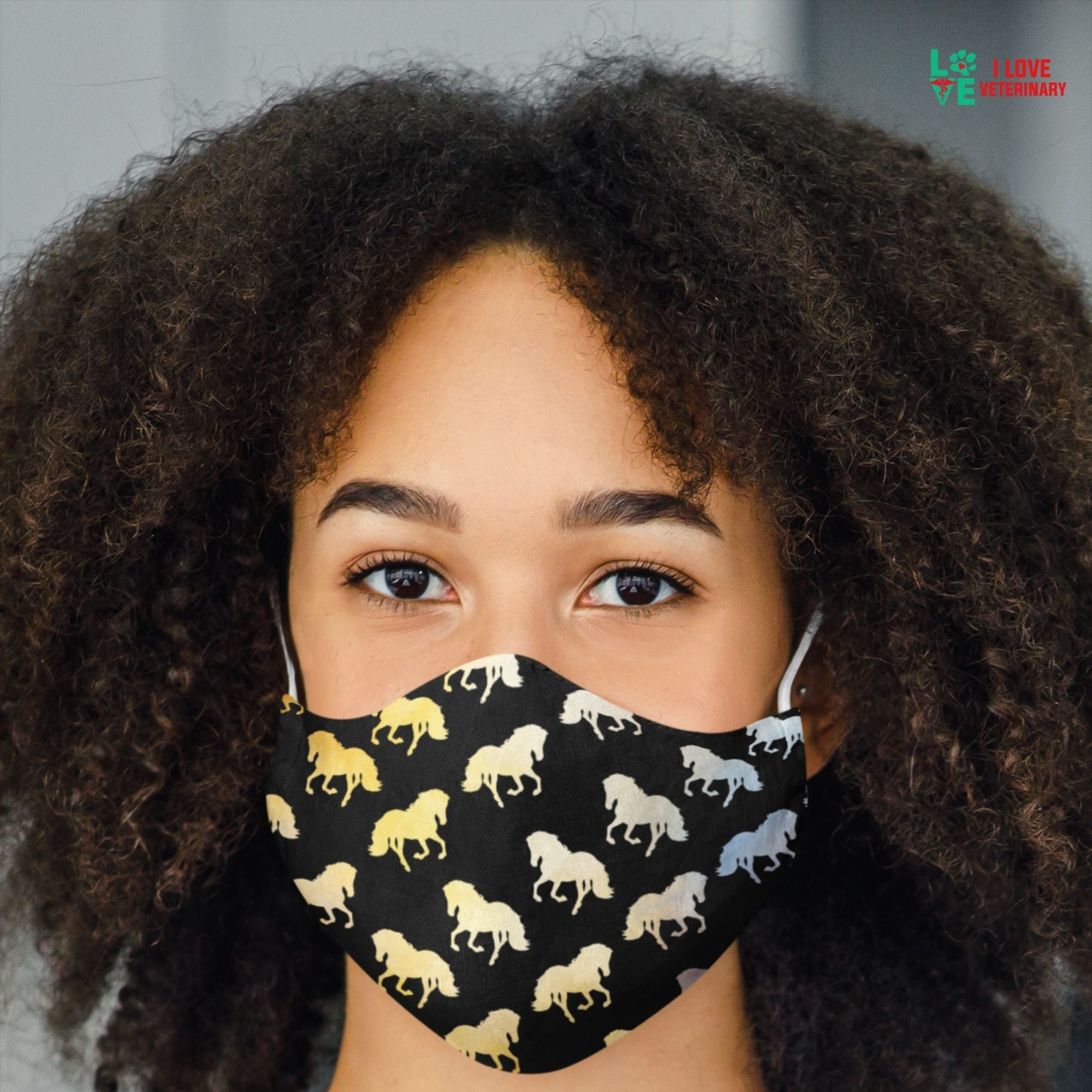 Golden Horses Sublimation Face Mask-Accessories-I love Veterinary