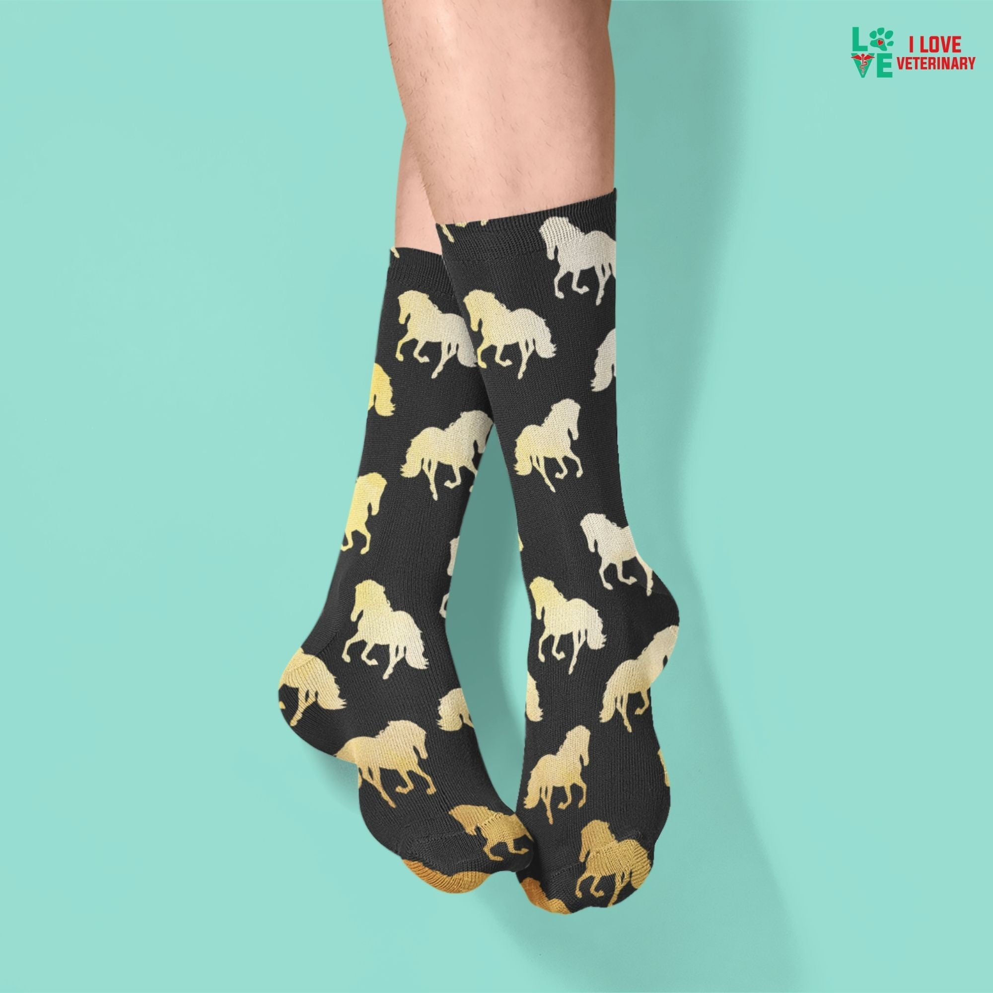 Golden Horses Sublimation Tube Sock-Accessories-I love Veterinary