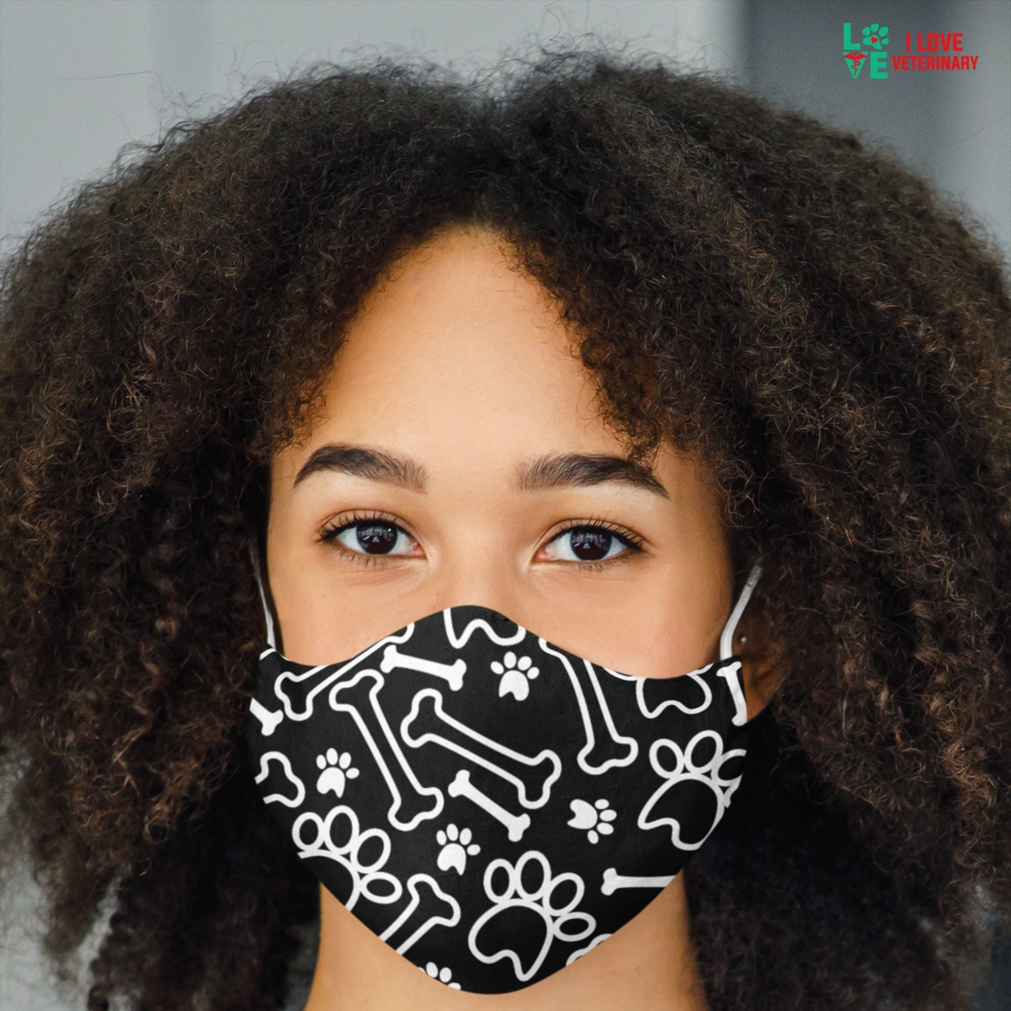 White paws and bones on black pattern Sublimation Face Mask-Accessories-I love Veterinary