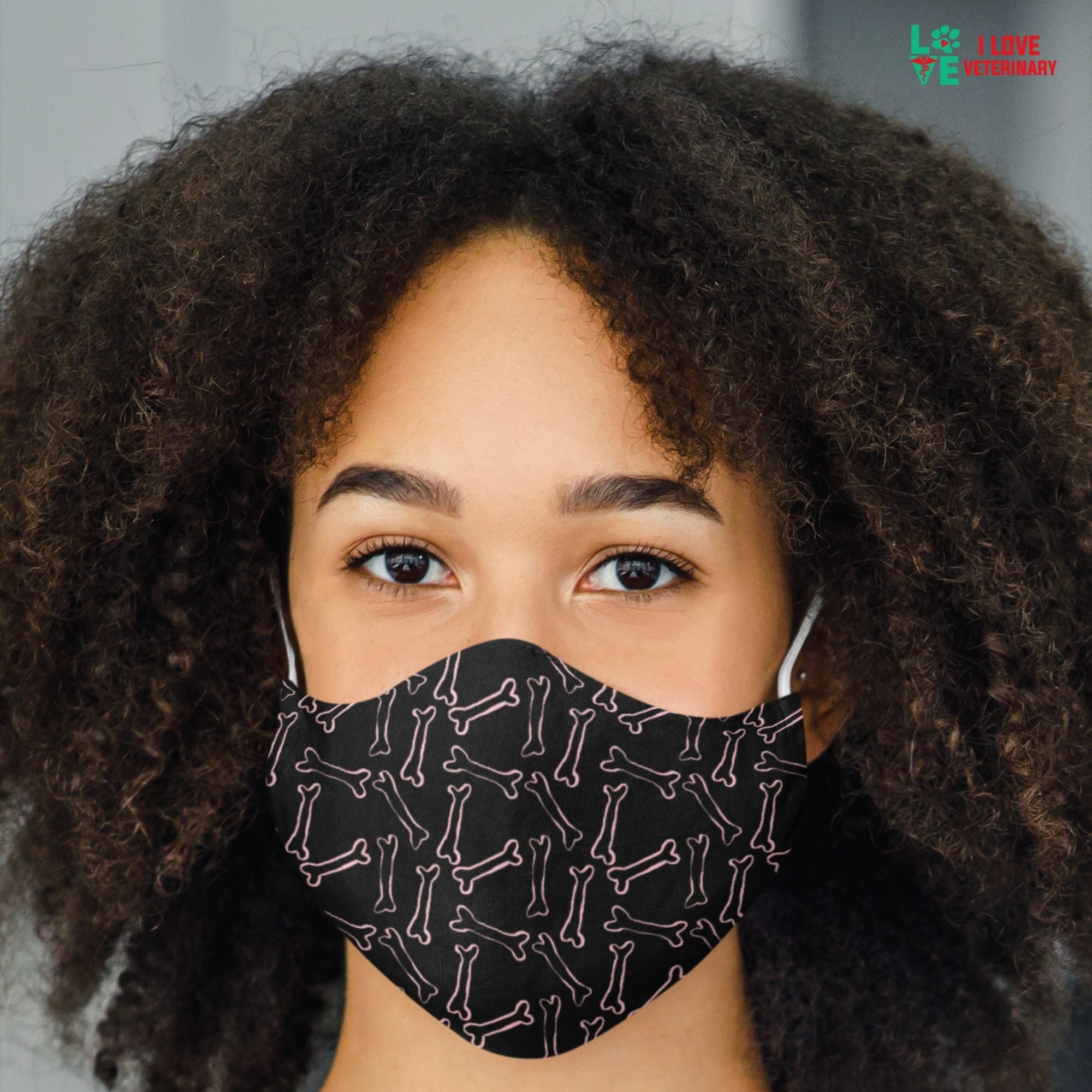Pink bones black pattern Sublimation Face Mask-Accessories-I love Veterinary