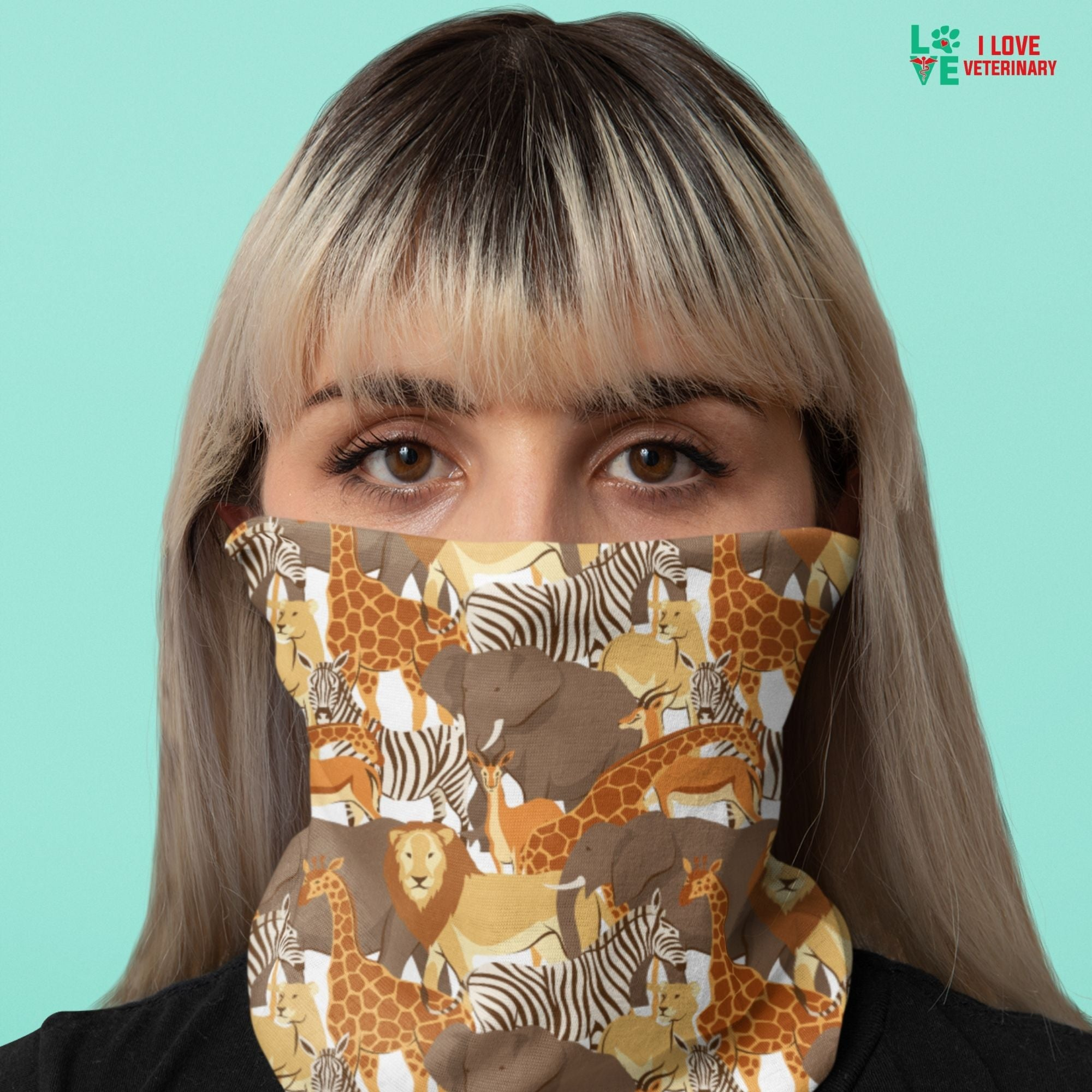Lion, zebra, giraffe pattern Sublimation Neck Gaiter-Sublimation Neck Gaiter-I love Veterinary