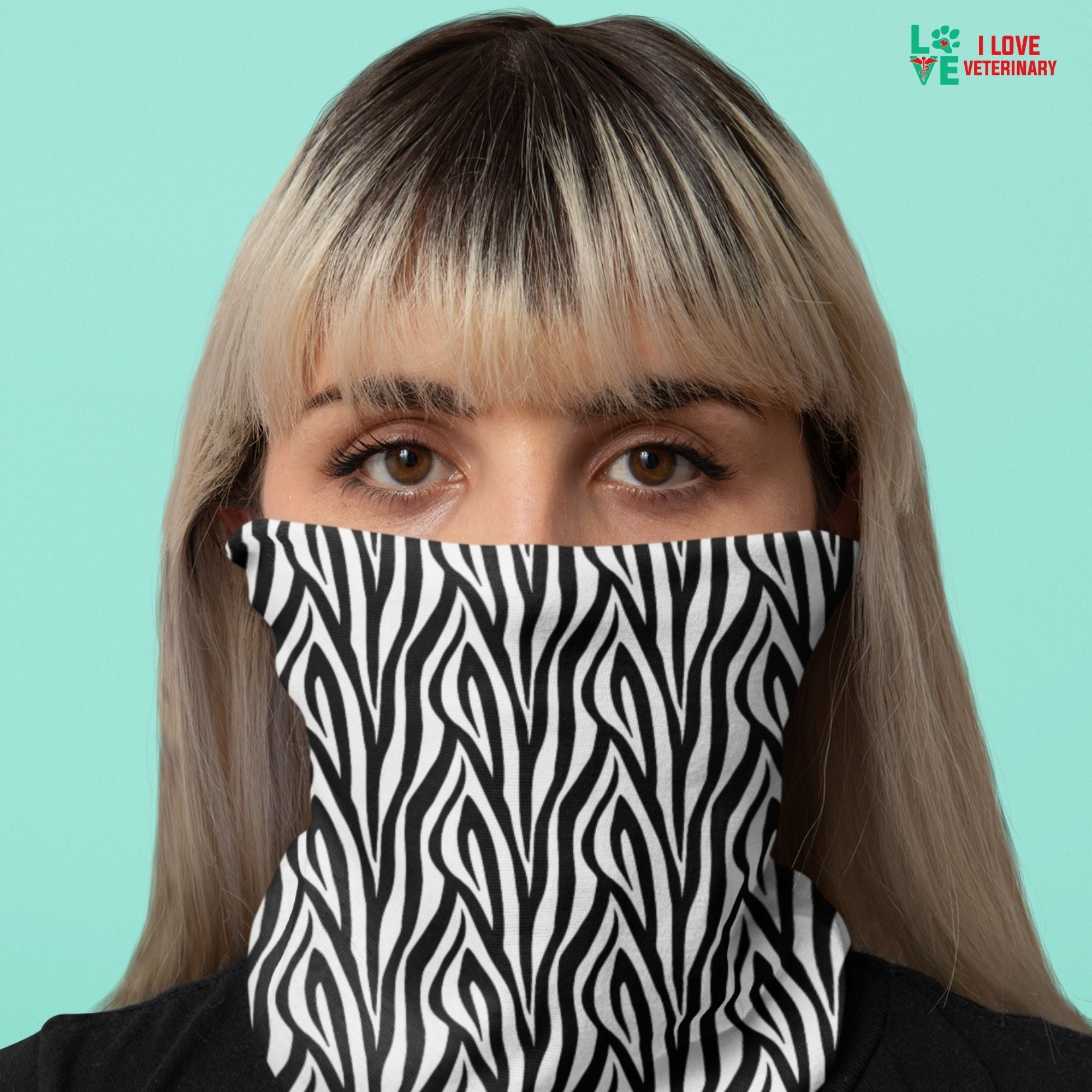 Zebra skin pattern Sublimation Neck Gaiter-Accessories-I love Veterinary