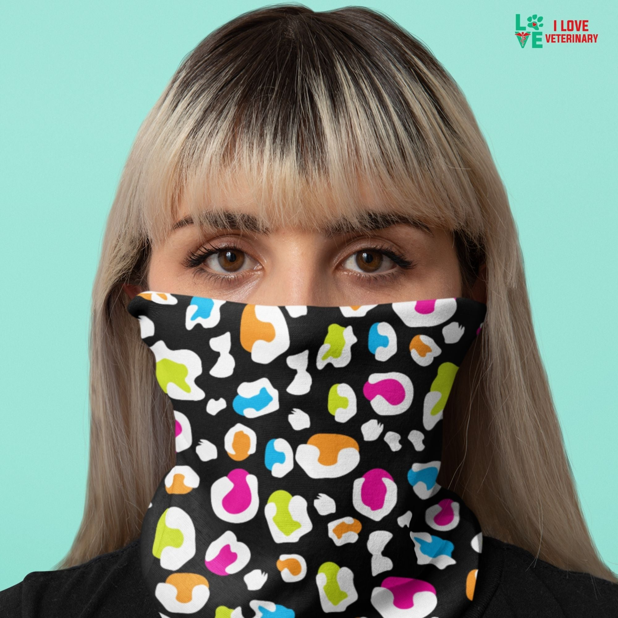 Colorful leopard black pattern Sublimation Neck Gaiter-Accessories-I love Veterinary