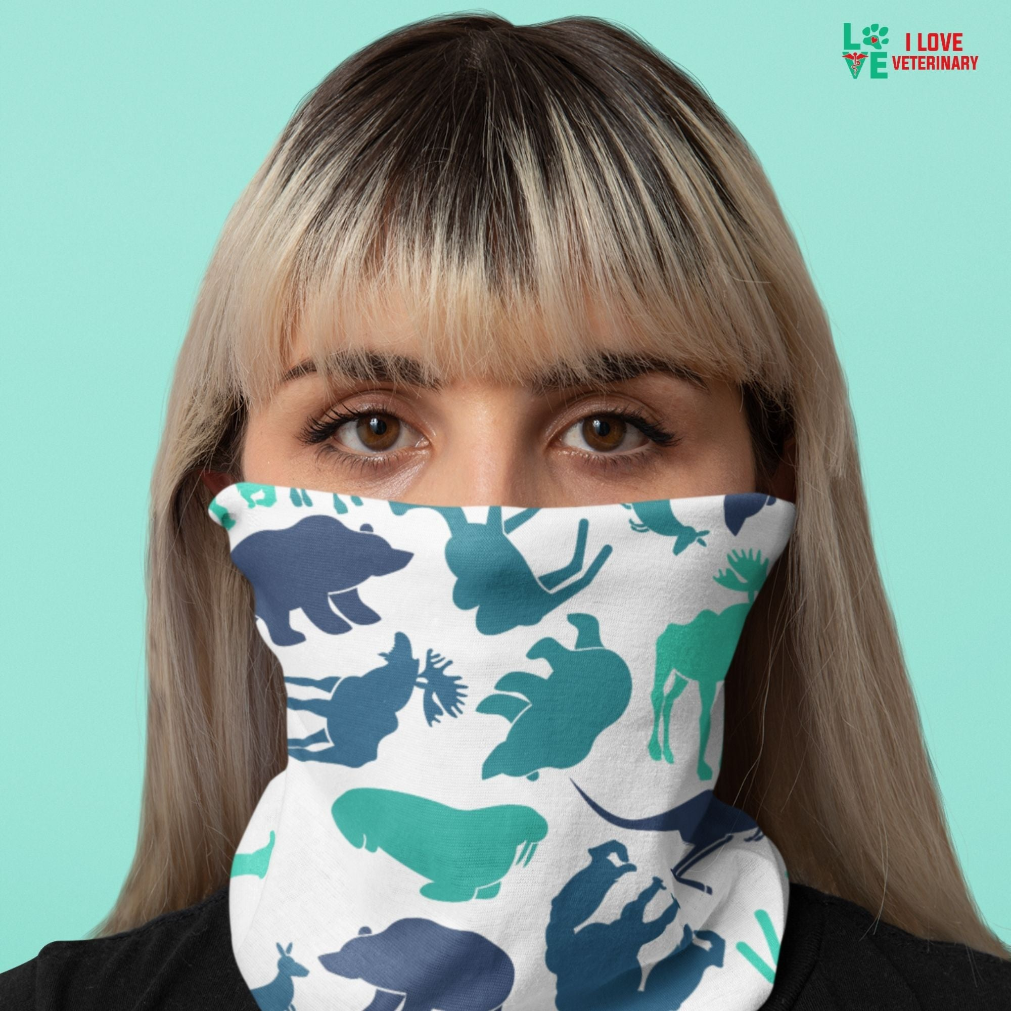 Moose, bear, kangaroo white pattern Sublimation Neck Gaiter-Accessories-I love Veterinary