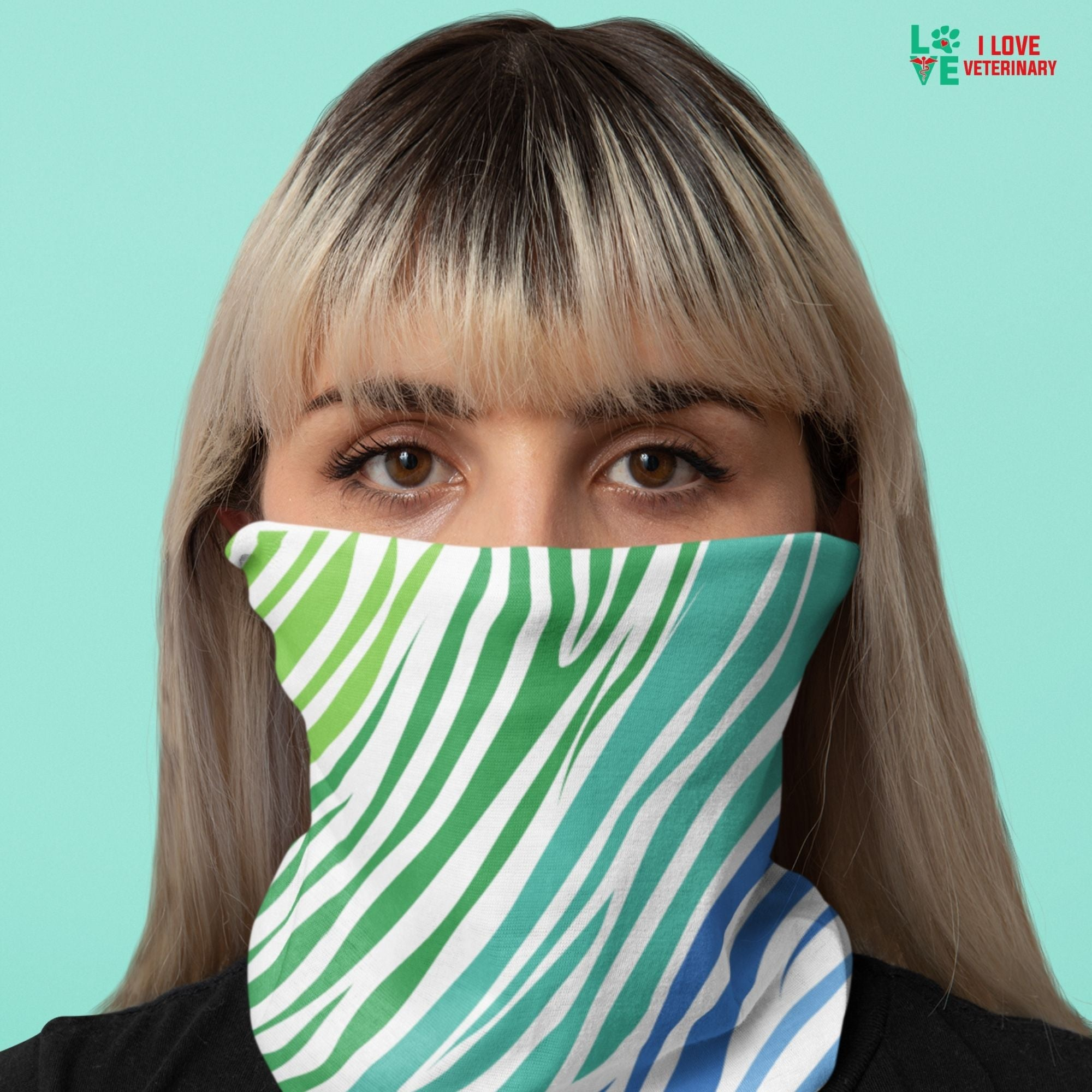Green blue zebra pattern Sublimation Neck Gaiter-Accessories-I love Veterinary
