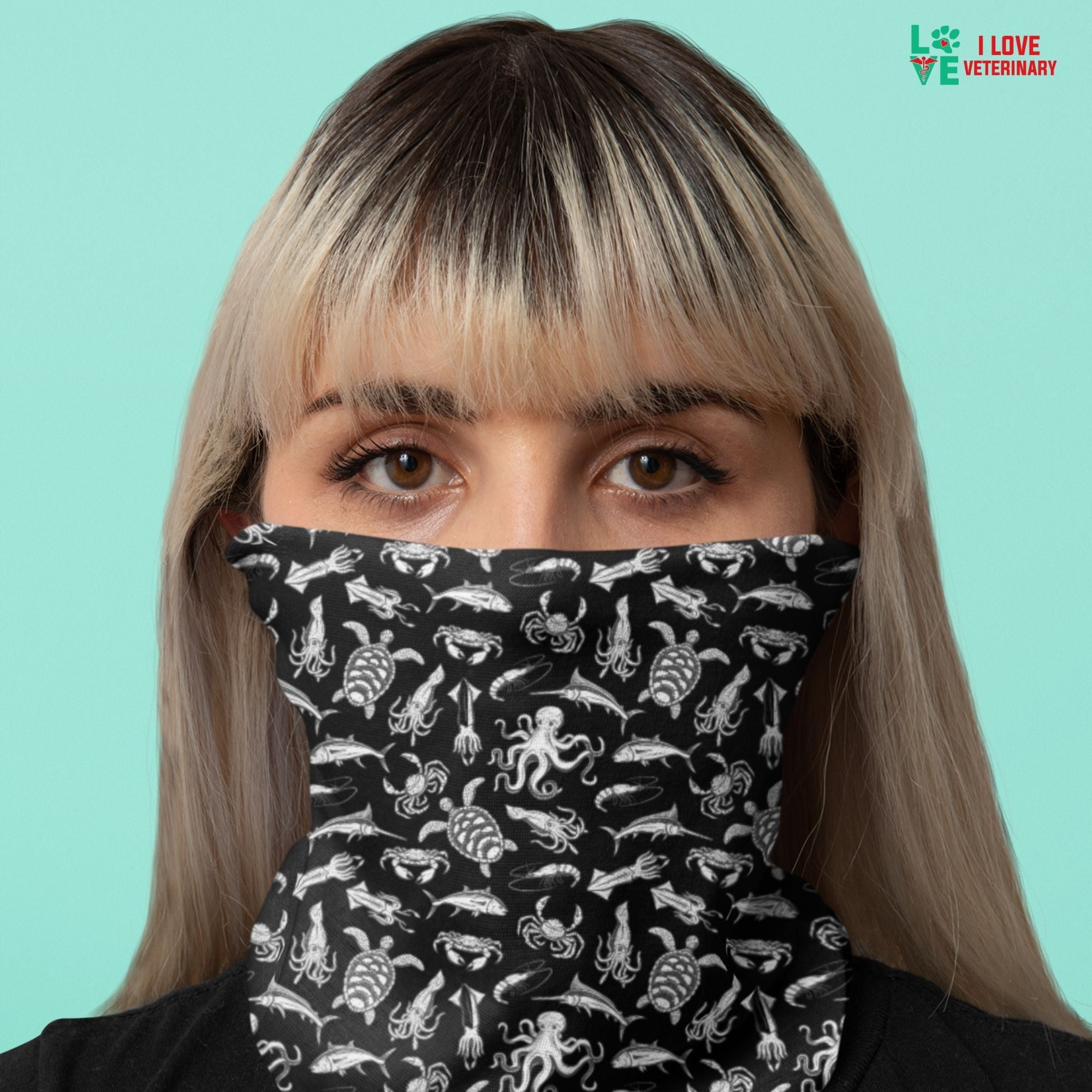 Sea world black pattern Sublimation Neck Gaiter-Accessories-I love Veterinary