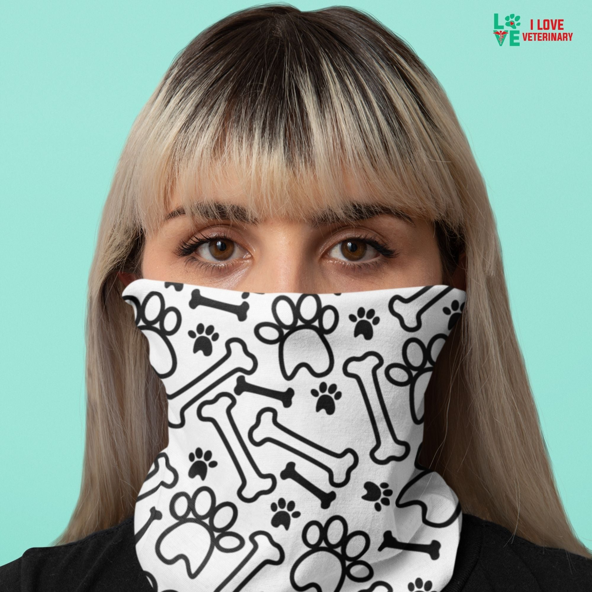 Black paws and bones on white pattern Sublimation Neck Gaiter-Accessories-I love Veterinary