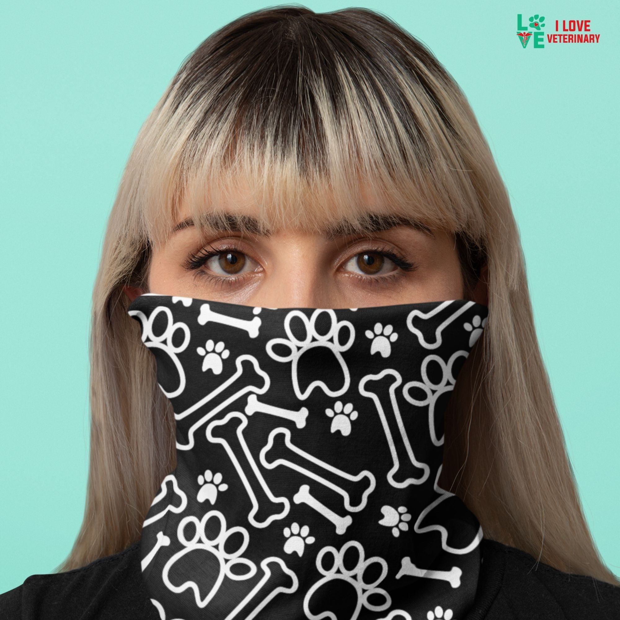 White paws and bones on black pattern Sublimation Neck Gaiter-Accessories-I love Veterinary