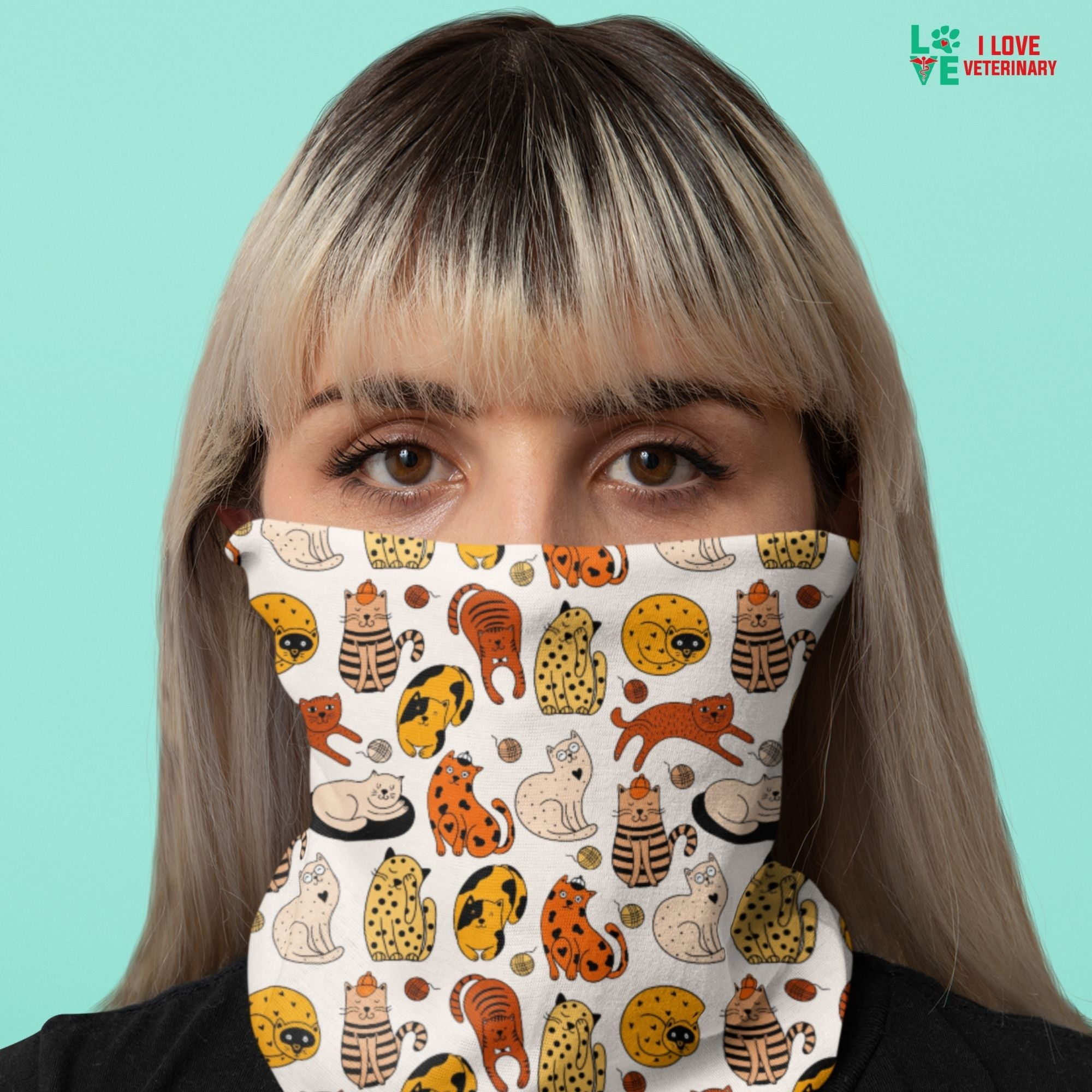 Orange cats pattern Sublimation Neck Gaiter-Accessories-I love Veterinary