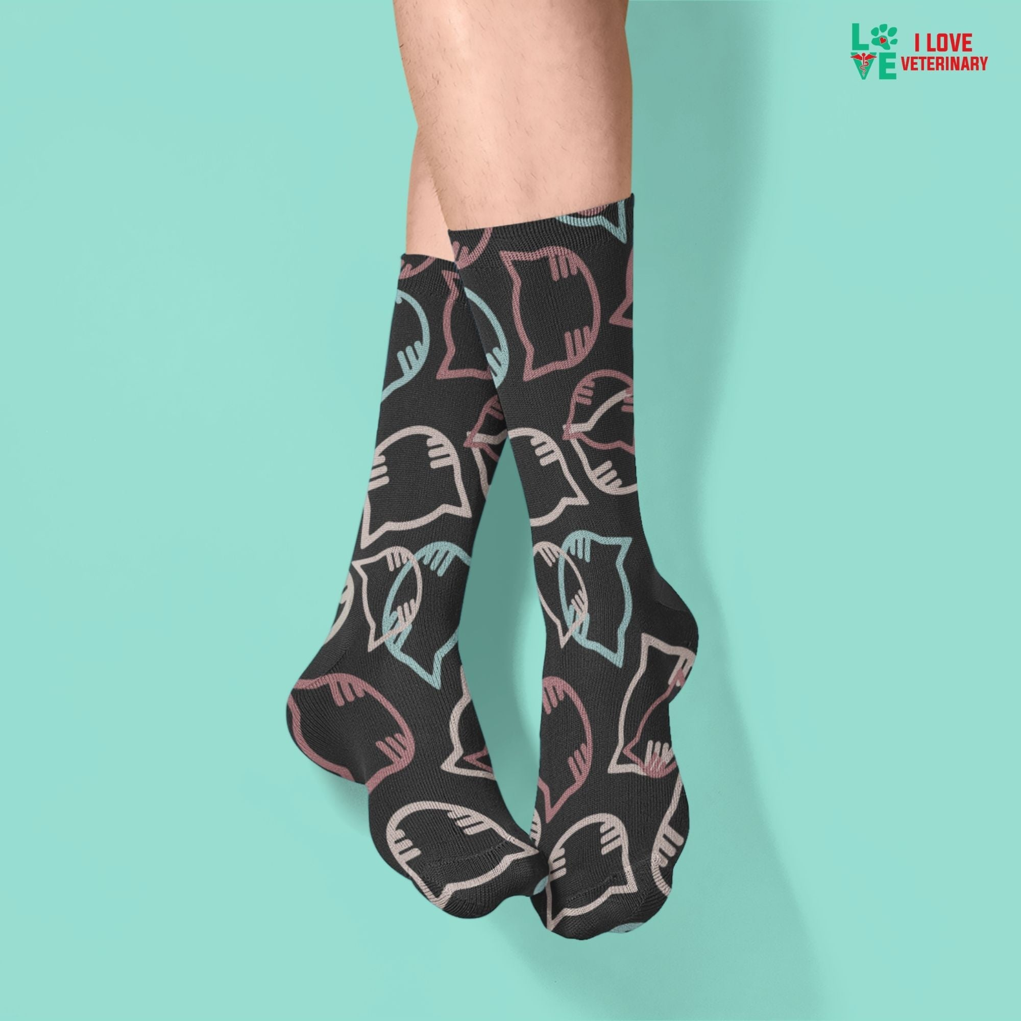Cartoon cat heads black pattern Sublimation Tube Sock-Accessories-I love Veterinary