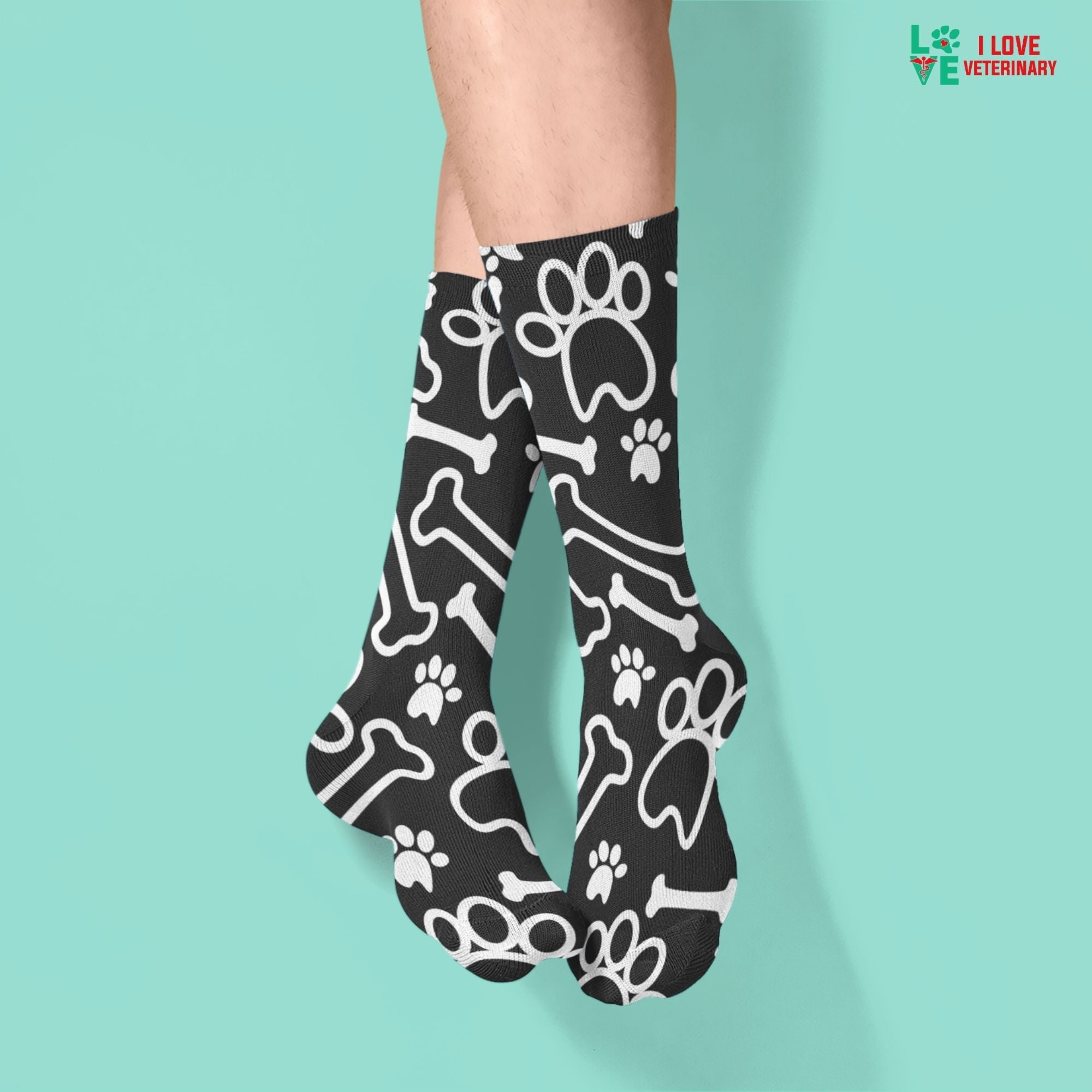 White paws and bones on black pattern Sublimation Tube Sock-Accessories-I love Veterinary