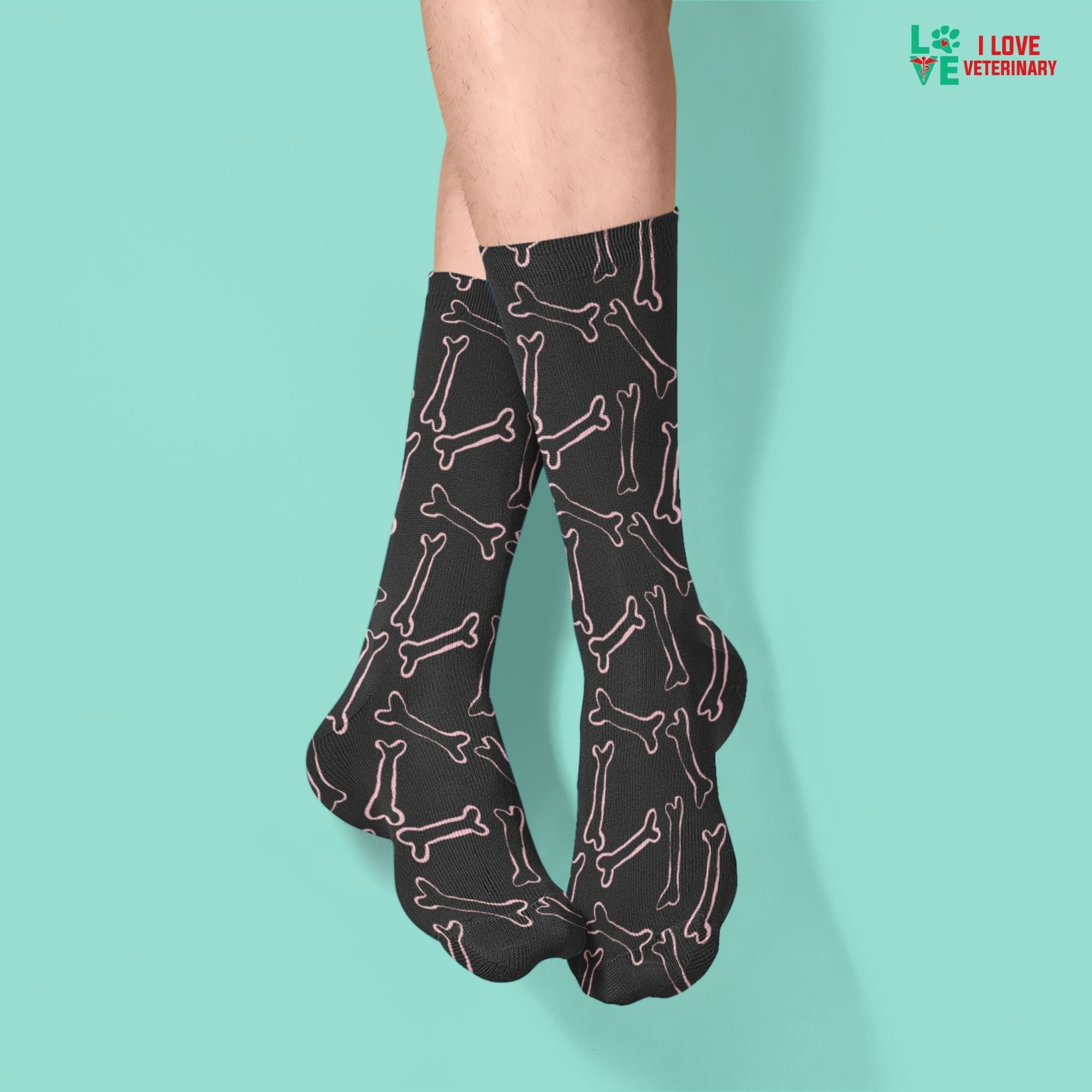 Pink bones black pattern Sublimation Tube Sock-Accessories-I love Veterinary
