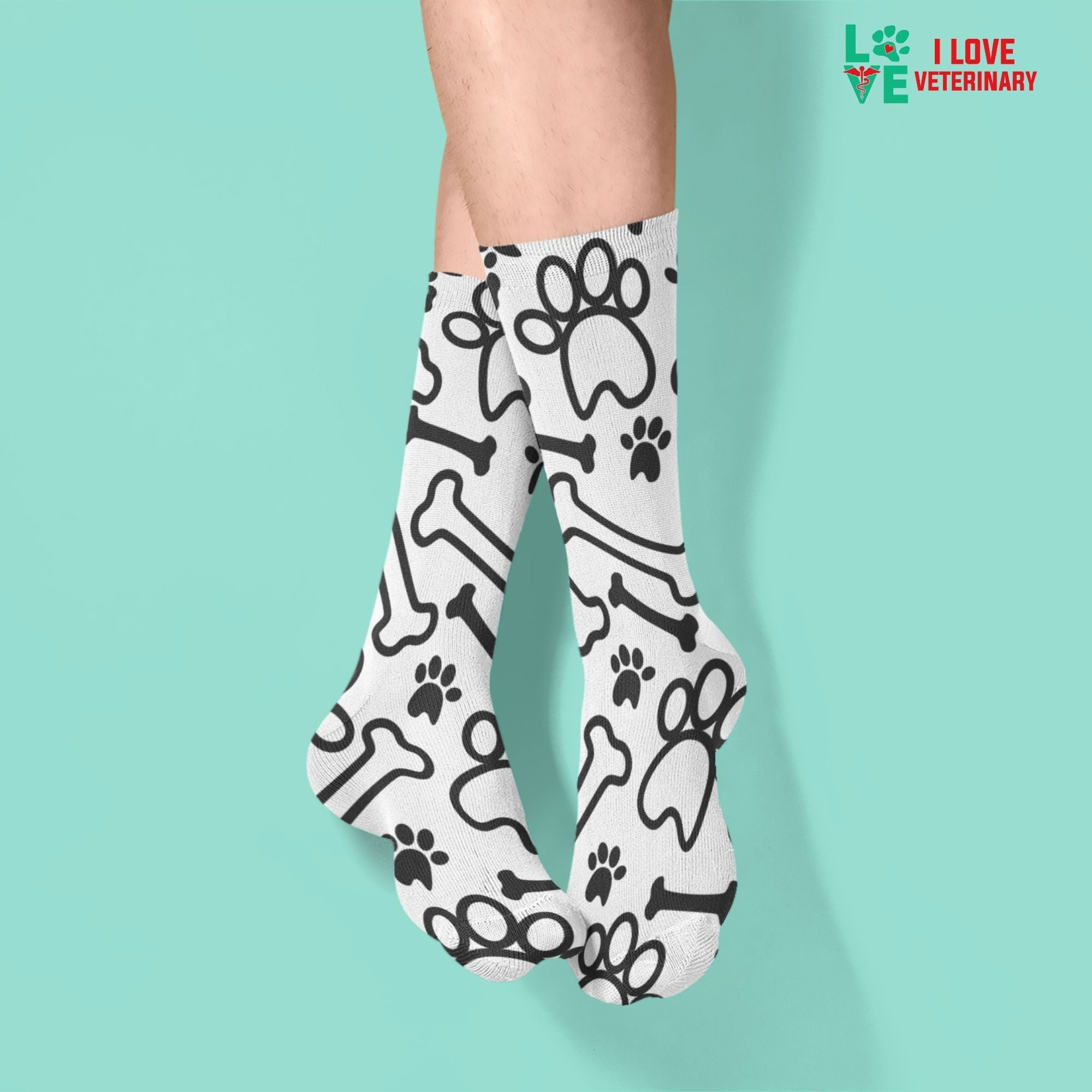 Black paws and bones on white pattern Sublimation Tube Sock-Accessories-I love Veterinary