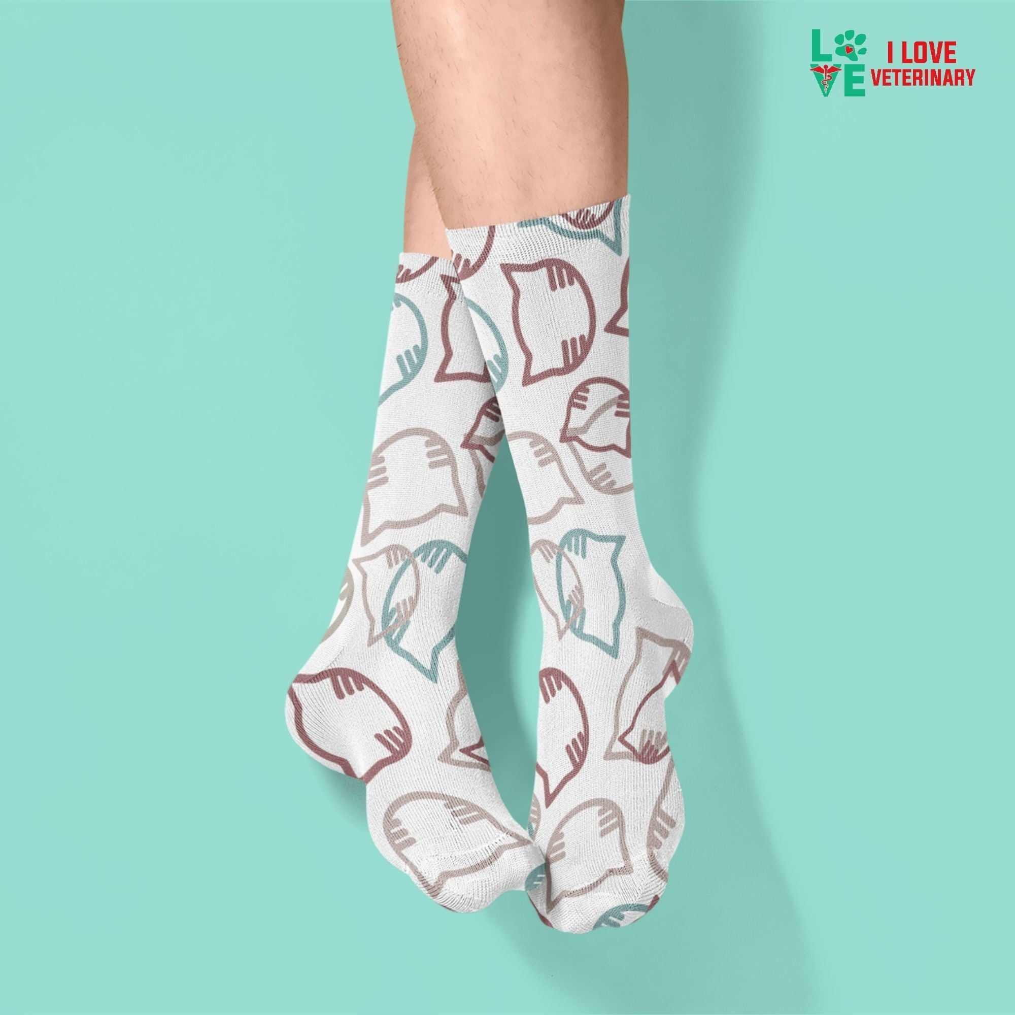 Cartoon cat heads white pattern Sublimation Tube Sock-Socks-I love Veterinary