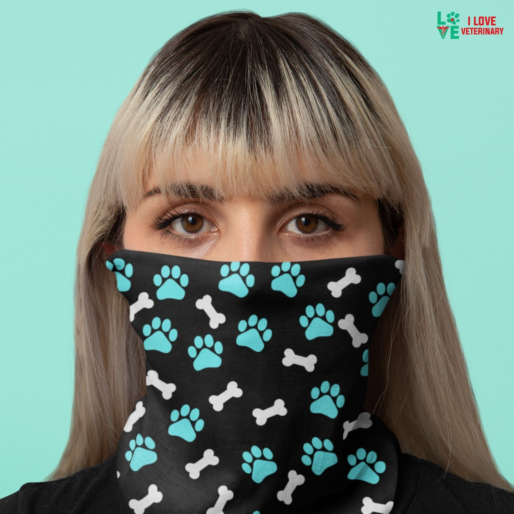 Paws and bones Sublimation Neck Gaiter-Sublimation Neck Gaiter-I love Veterinary