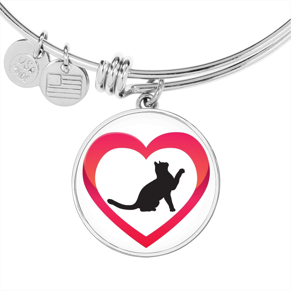 Veterinary Jewelry Adjustable Luxury Bangle Bracelet - Cat in a heart-Jewelry-I love Veterinary
