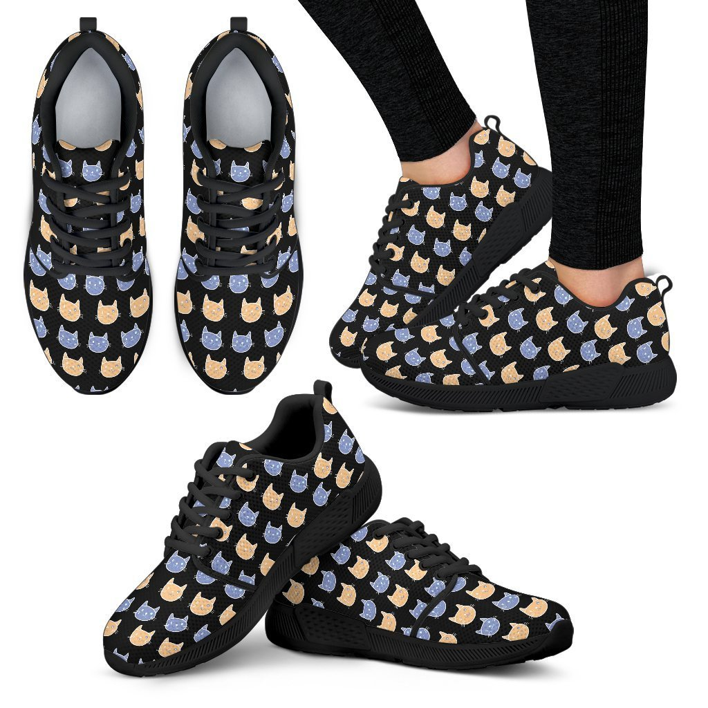 Cats Pattern Women's Athletic Sneakers-Athletic Sneakers-I love Veterinary