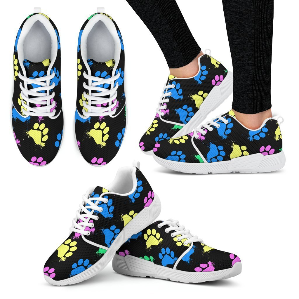 Colorful paws Black Women's Athletic Sneakers-Athletic Sneakers-I love Veterinary