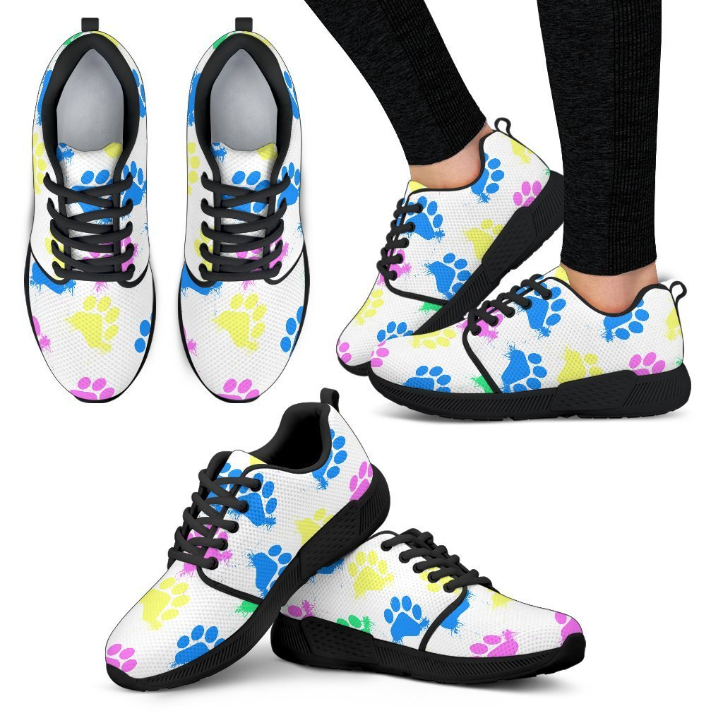 Colorful Paws White Women's Athletic Sneakers-Athletic Sneakers-I love Veterinary
