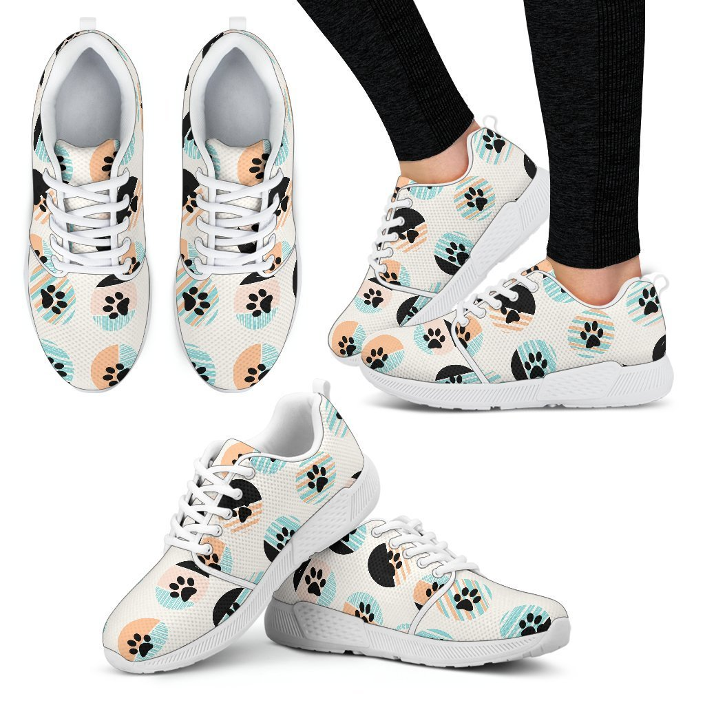 Pastel Pawprints Women's Athletic Sneakers-Athletic Sneakers-I love Veterinary