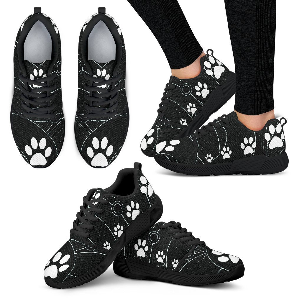 Pawprints Waves Black Women's Athletic Sneakers-Athletic Sneakers-I love Veterinary