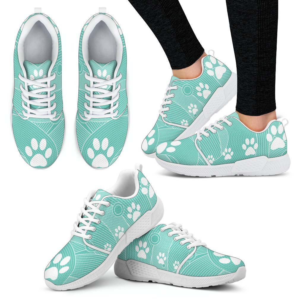 Pawprints Waves Women's Athletic Sneakers-Athletic Sneakers-I love Veterinary