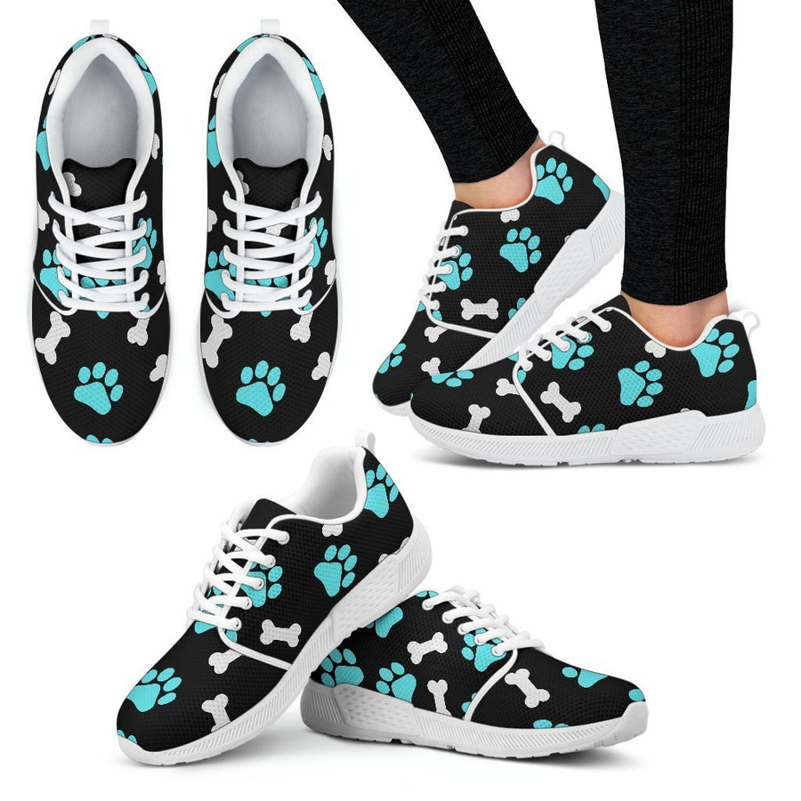 Paws and bones   Black  Women's Athletic Sneakers