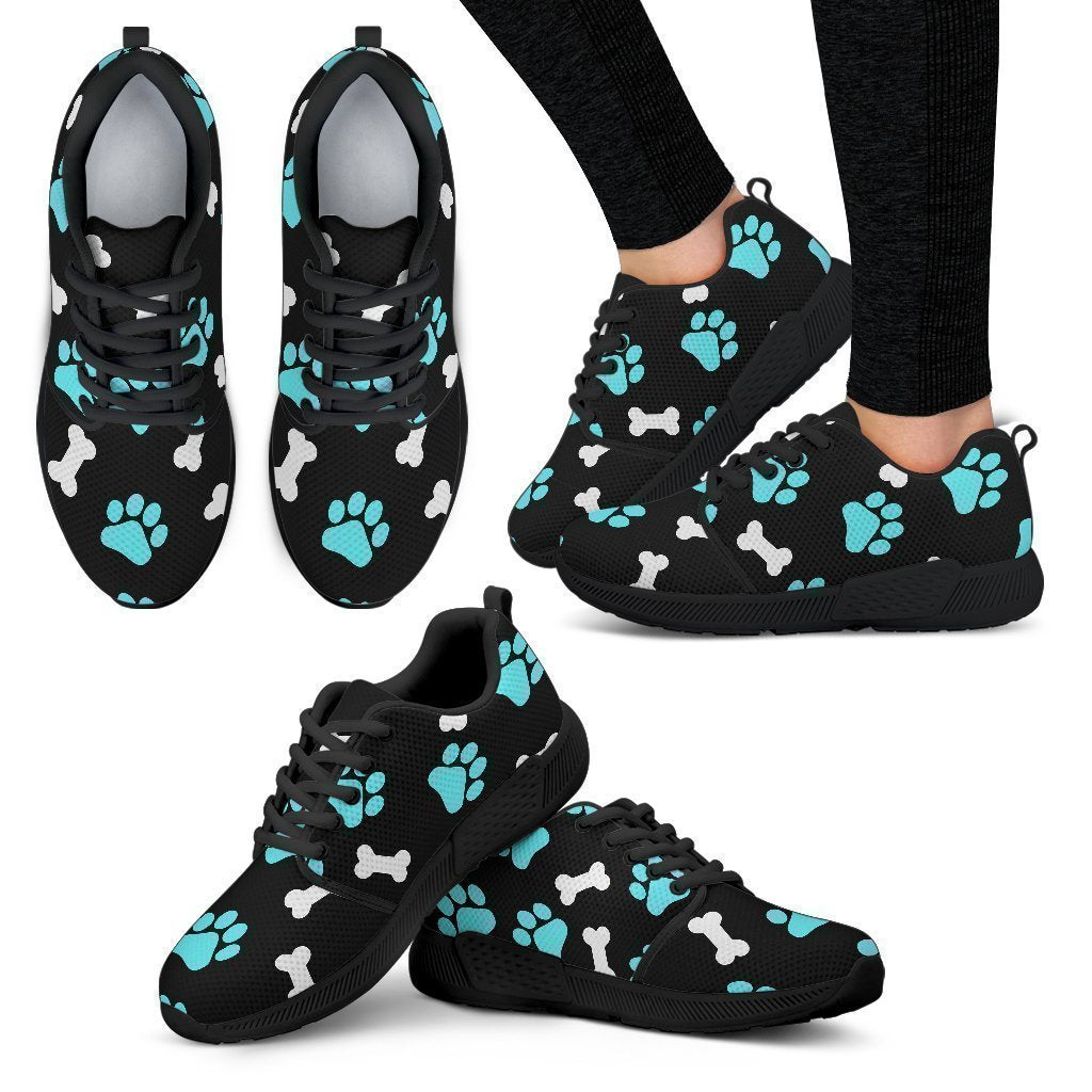 Paws and bones Black Women's Athletic Sneakers-Athletic Sneakers-I love Veterinary