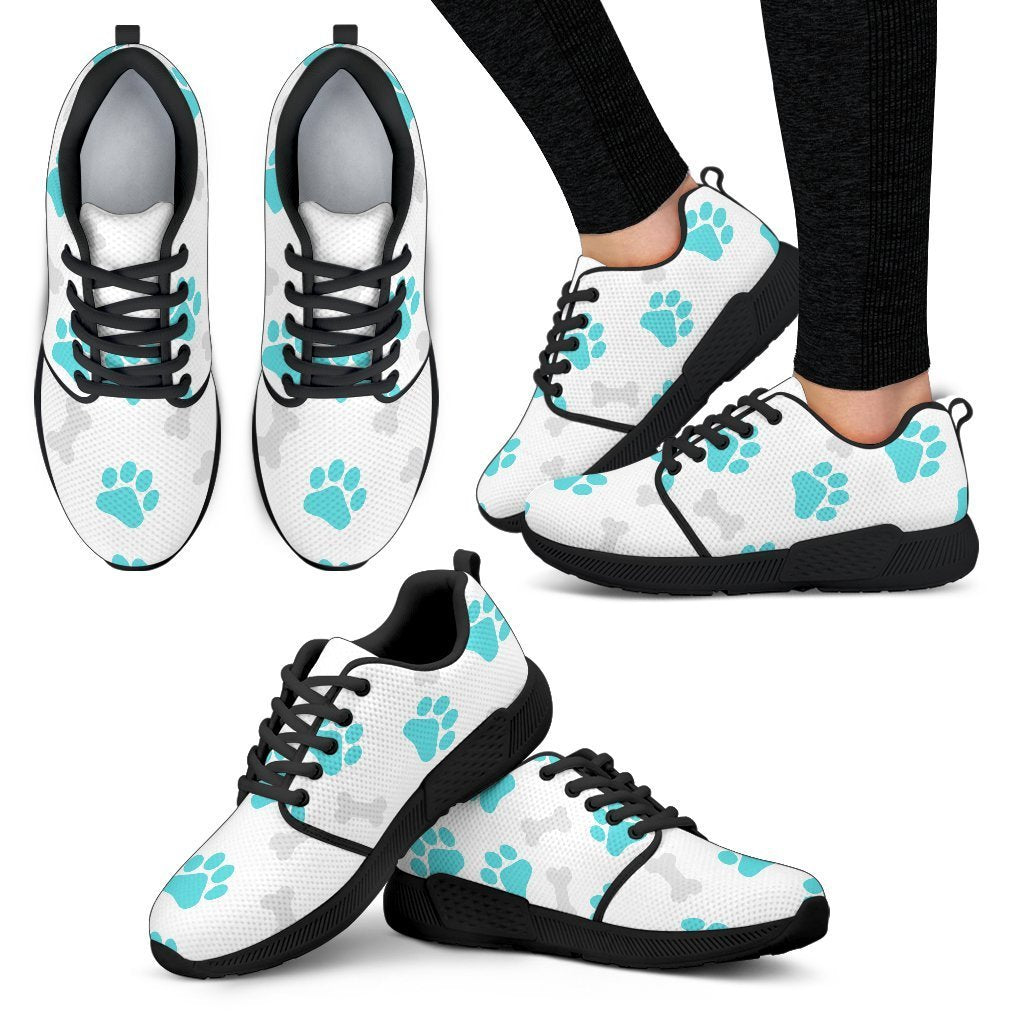 Paws and Bones White Women's Athletic Sneakers-Athletic Sneakers-I love Veterinary