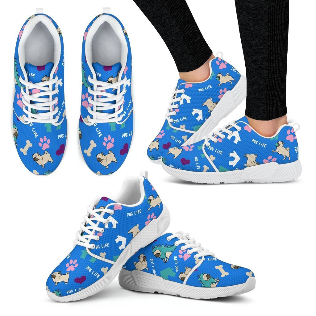 Pug Life Women's Athletic Sneakers-Athletic Sneakers-I love Veterinary