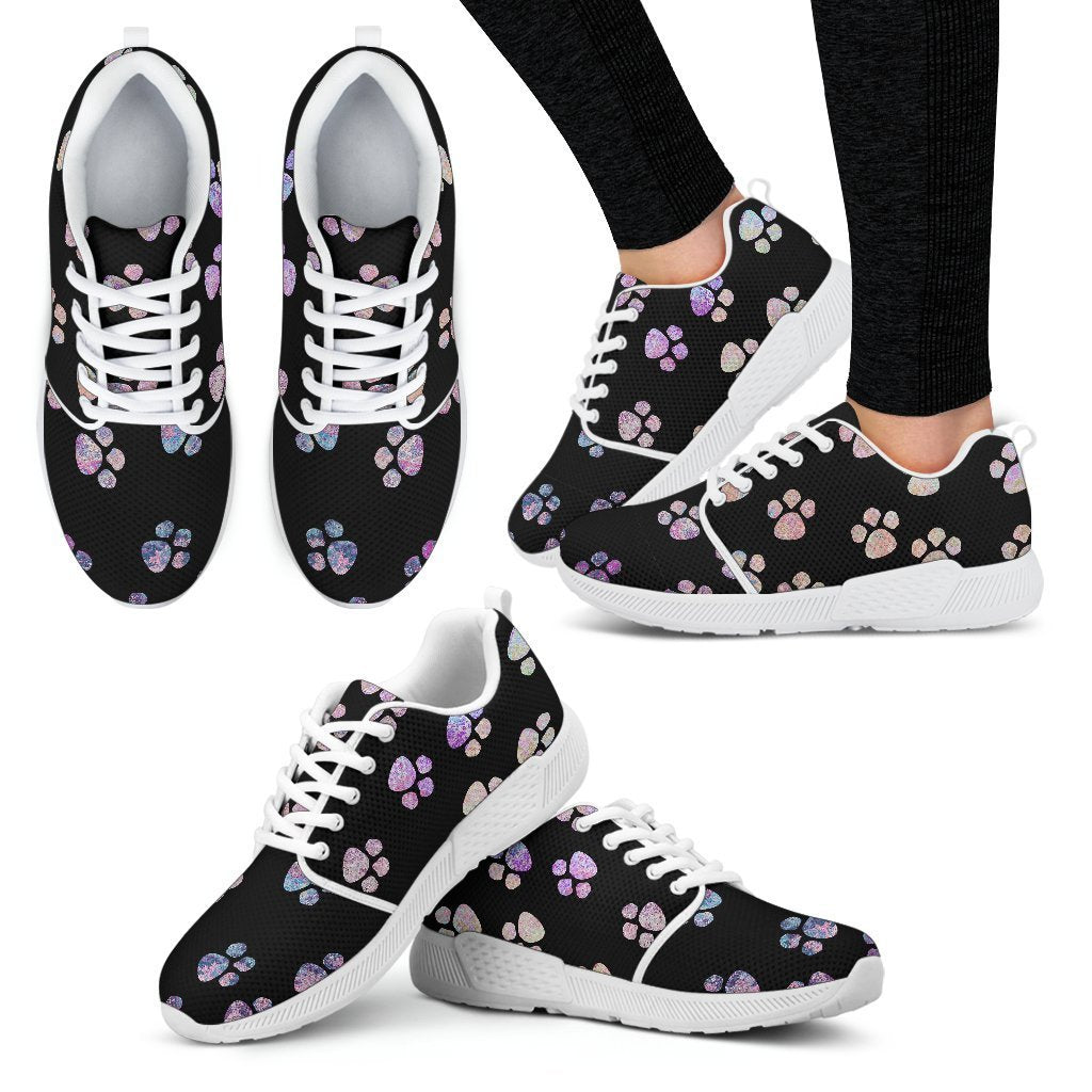 Watercolor pawprints Women's Athletic Sneakers-Athletic Sneakers-I love Veterinary