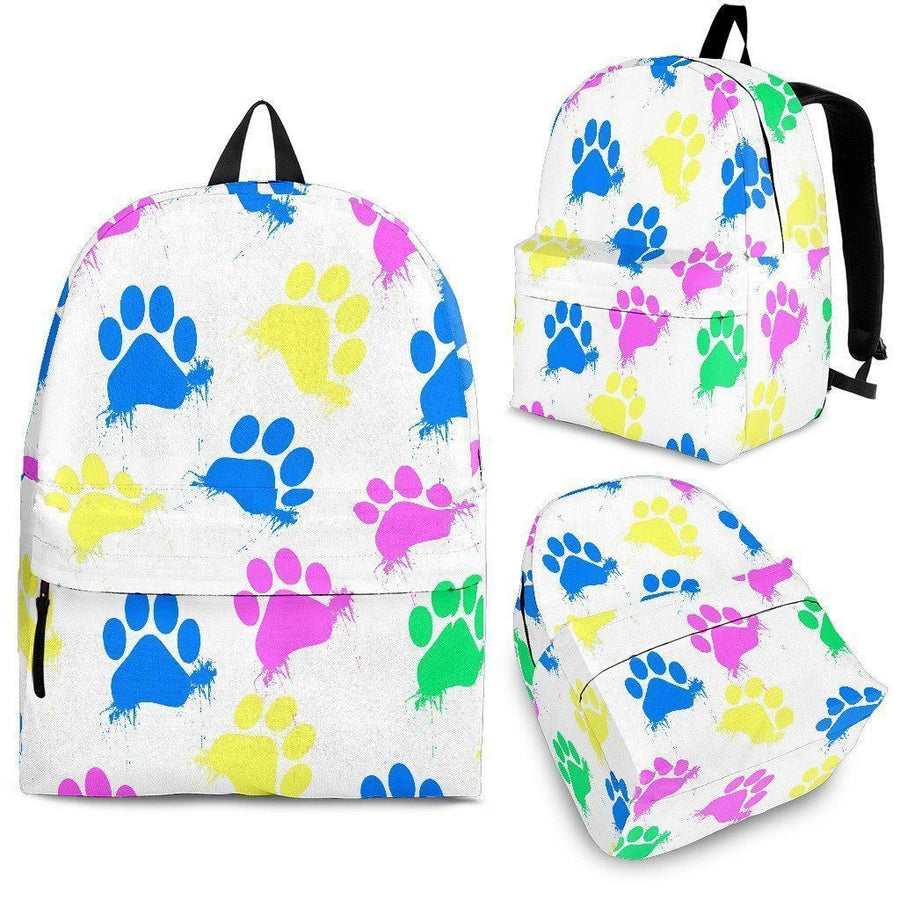 Colorful Paws White Backpack-Backpacks-I love Veterinary