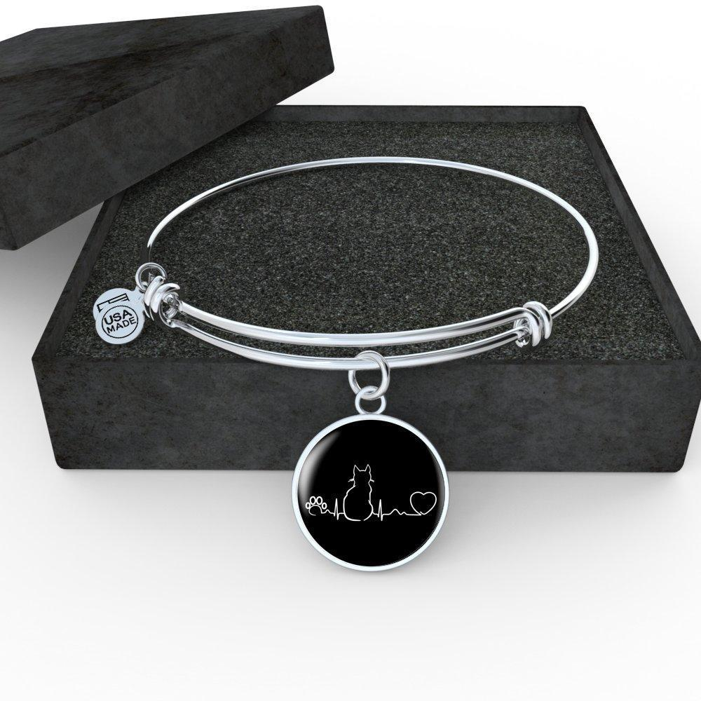 Cat Veterinarian Jewelry Gift Adjustable Luxury Bangle Bracelet - Cat Pulse-Bangle Bracelet-I love Veterinary