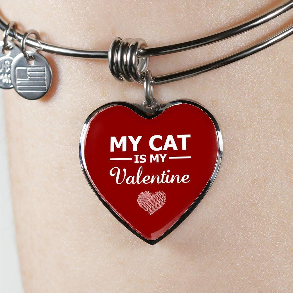 Cat Veterinarian Jewelry Gift Adjustable Luxury Bangle Bracelet Heart- My cat is my Valentine-Bangle Bracelet-I love Veterinary