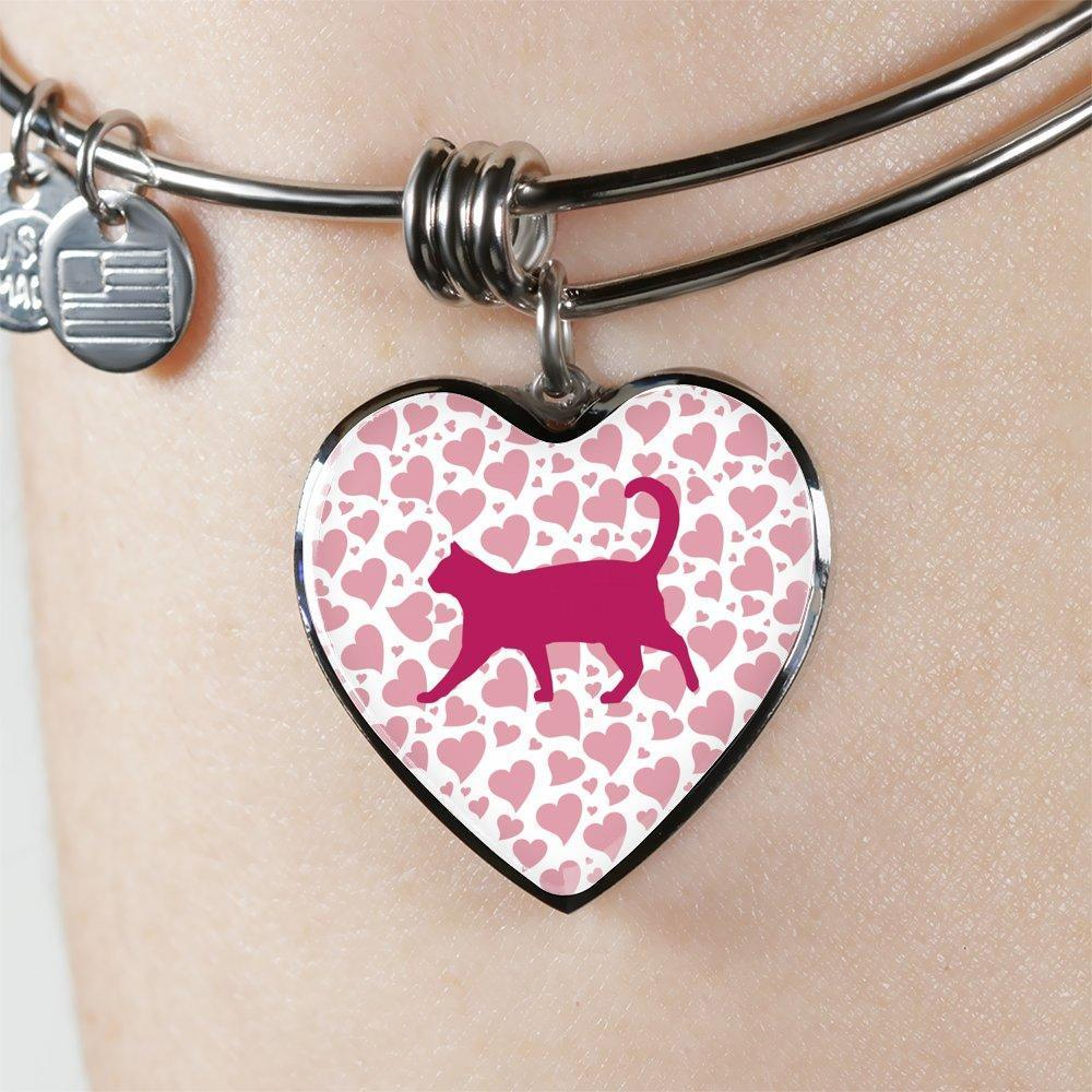 Cat Veterinarian Jewelry Gift Adjustable Luxury Bangle Bracelet Heart - Valentine Cat-Bangle Bracelet-I love Veterinary