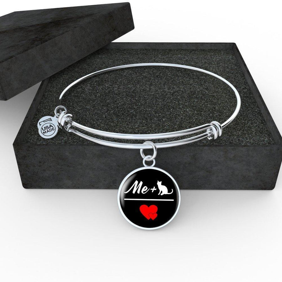 Cat Veterinarian Jewelry Gift Adjustable Luxury Bangle Bracelet - Me + Cat = Love-Bangle Bracelet-I love Veterinary